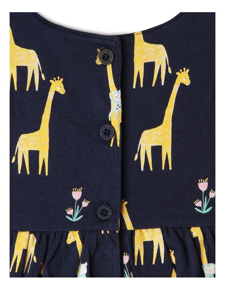Flutter-Sleeve Giraffe Print Dress with Pompom Trim image 4