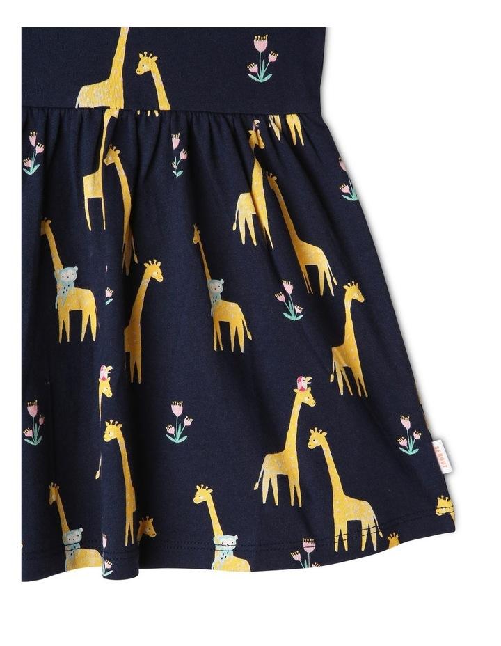 Flutter-Sleeve Giraffe Print Dress with Pompom Trim image 5