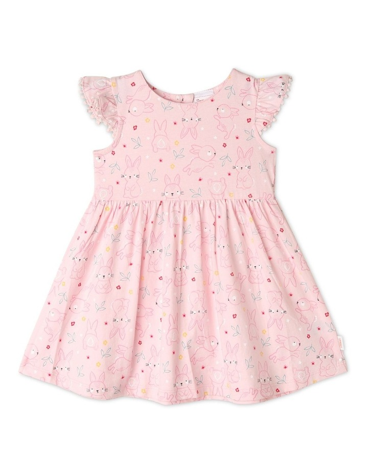 Flutter-Sleeve Bunny Print Dress with Pompom Trim image 1