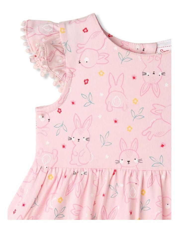Flutter-Sleeve Bunny Print Dress with Pompom Trim image 2