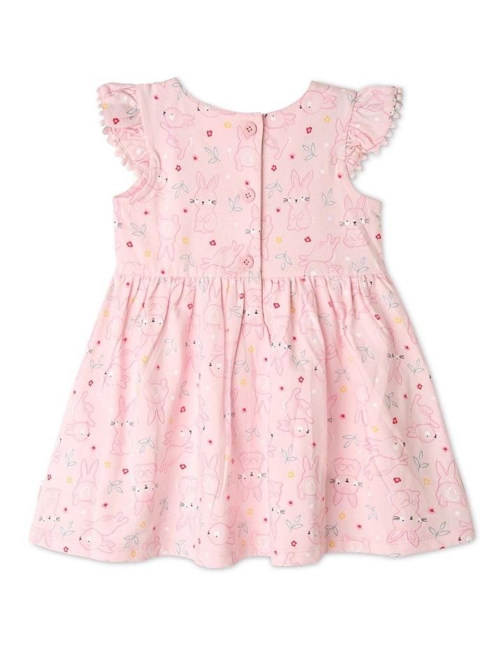 Flutter-Sleeve Bunny Print Dress with Pompom Trim image 3
