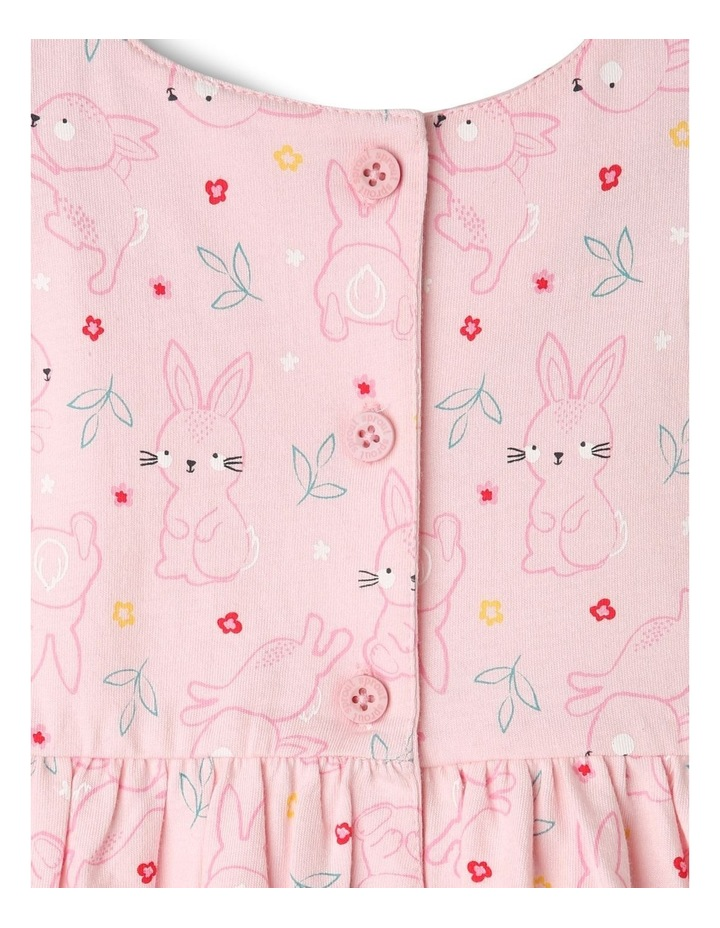 Flutter-Sleeve Bunny Print Dress with Pompom Trim image 4