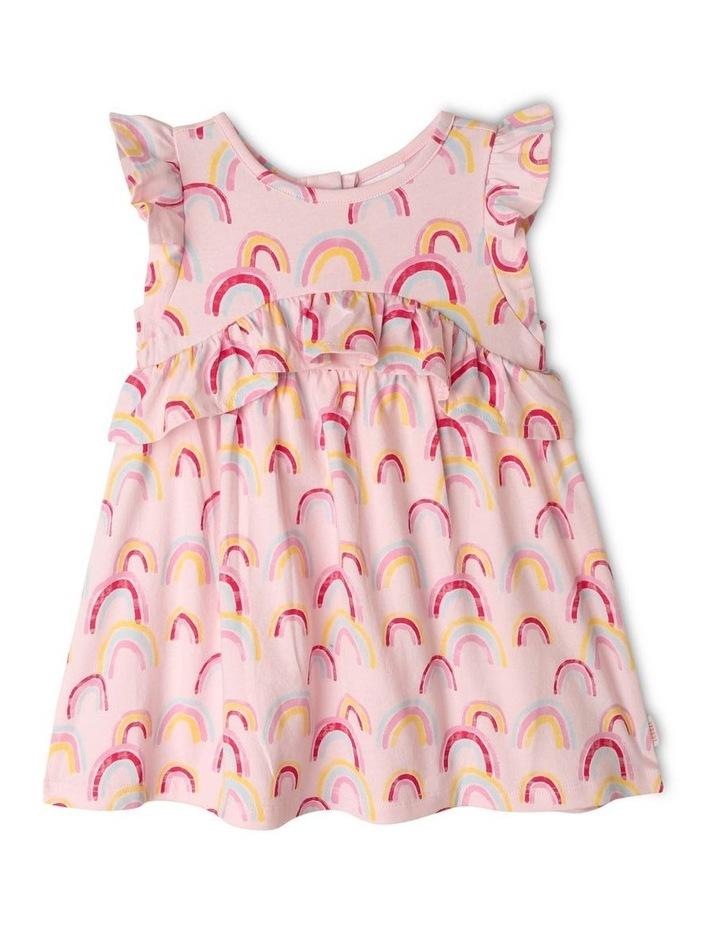 Rainbow Print Dress with Ruffle Trim image 1