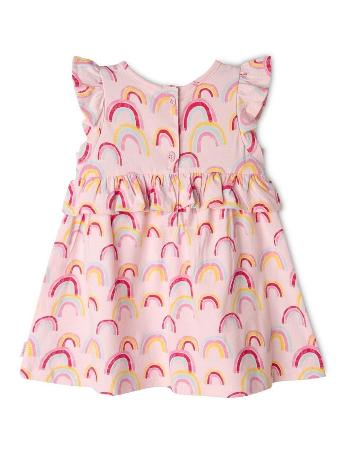 Rainbow Print Dress with Ruffle Trim image 2