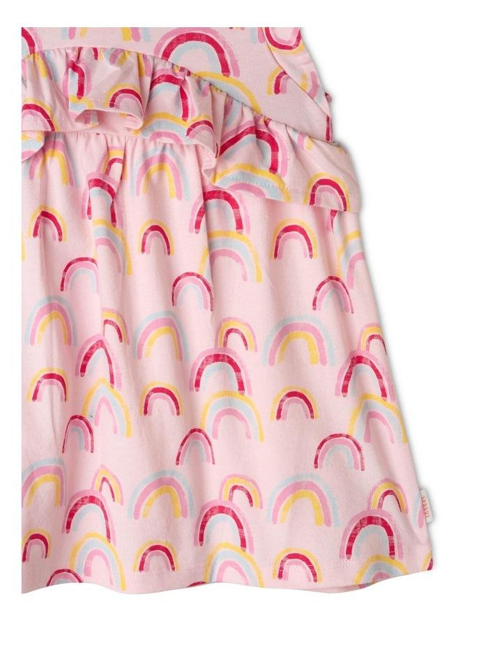 Rainbow Print Dress with Ruffle Trim image 5