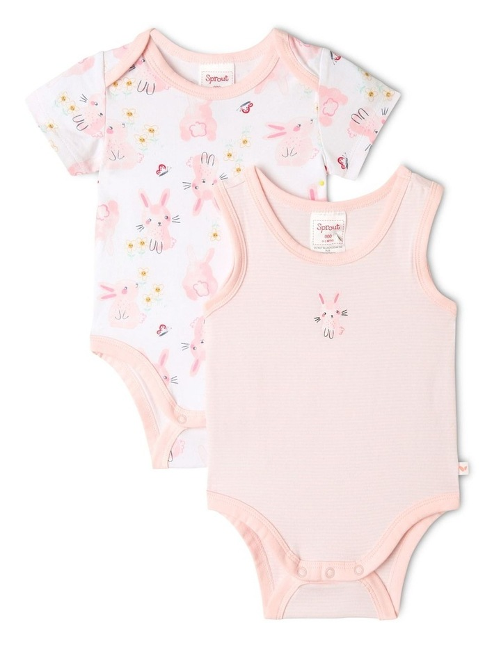 Organic Essential Bunny Bodysuit Set in Pale Pink image 1