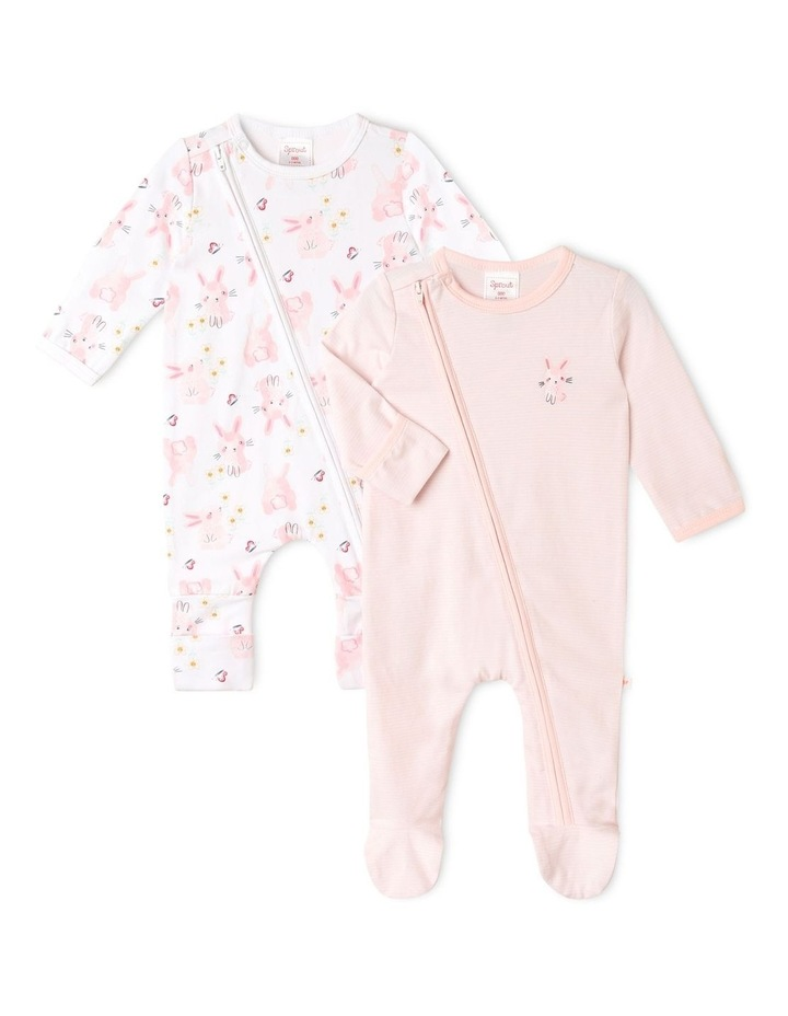 Organic Essential Bunny Coverall Set in Pale Pink image 1