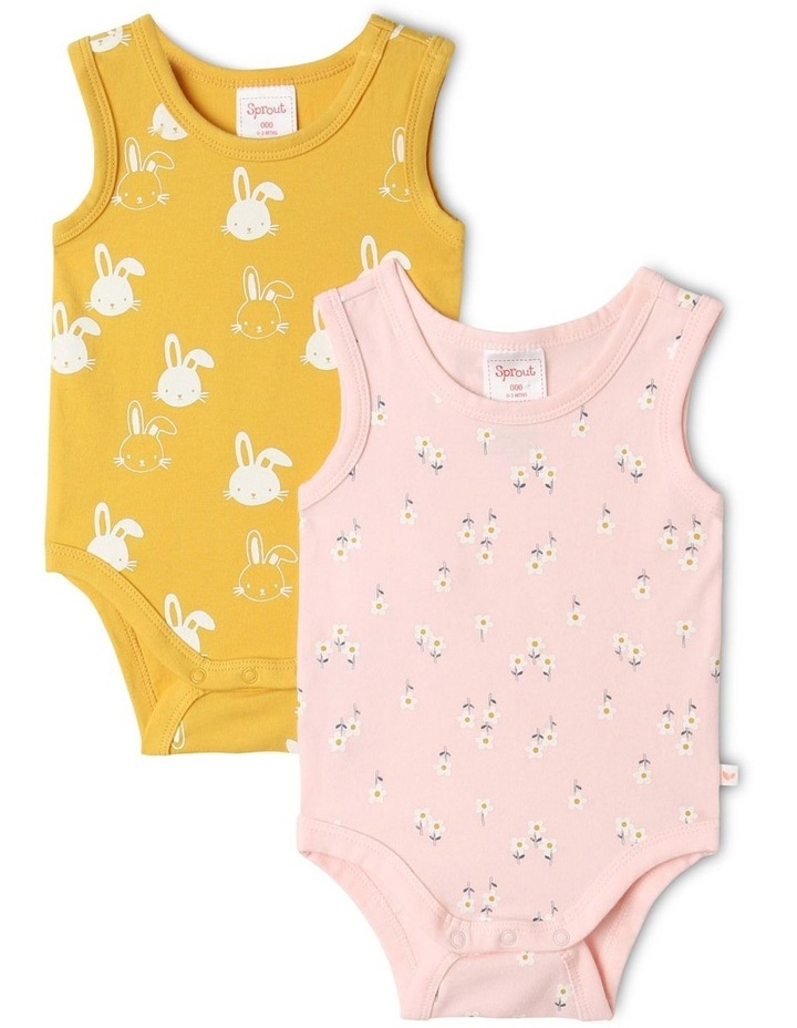 Organic Essential Floral Bodysuit Set in Pale Pink image 1