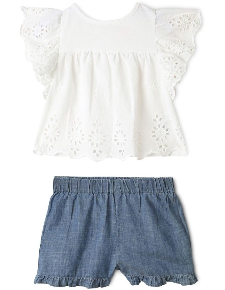 Broderie Tee and Short Set in White image 1