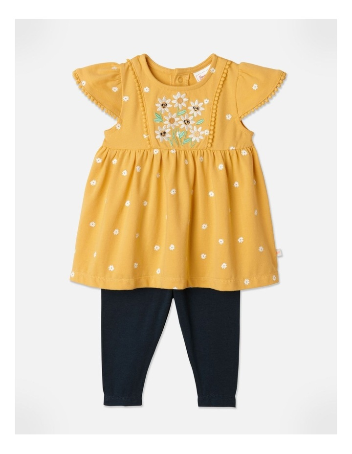 Top and Legging Floral Set in Mustard image 1