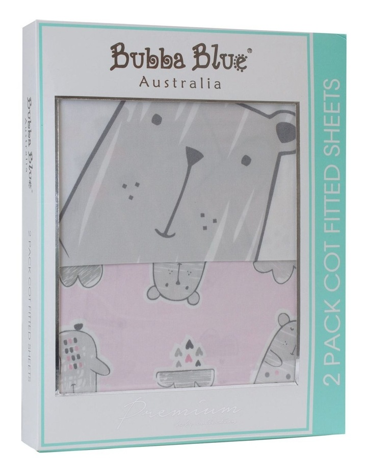 """""""Beary Sweet"""" 2pk Cot Fitted Sheet image 1"""
