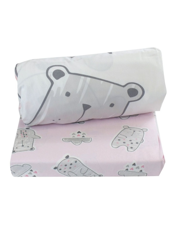 """""""Beary Sweet"""" 2pk Cot Fitted Sheet image 2"""