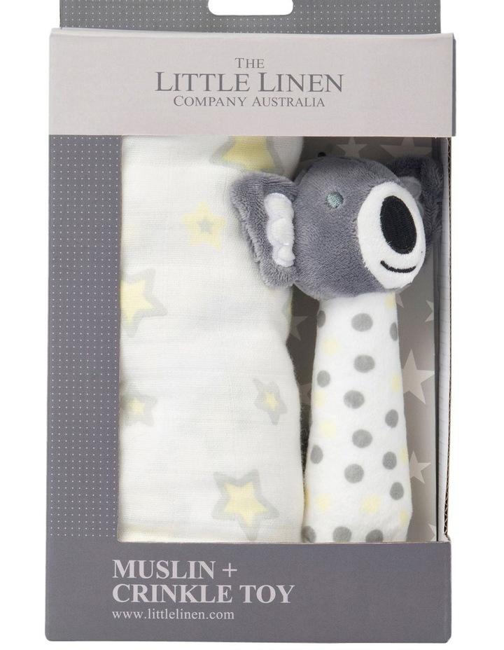 Muslin Wrap & Crinkle Toy - Silver Koala image 1