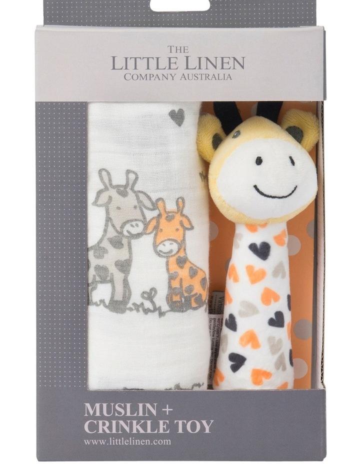 Muslin Wrap & Crinkle Toy - Orange Giraffe image 1