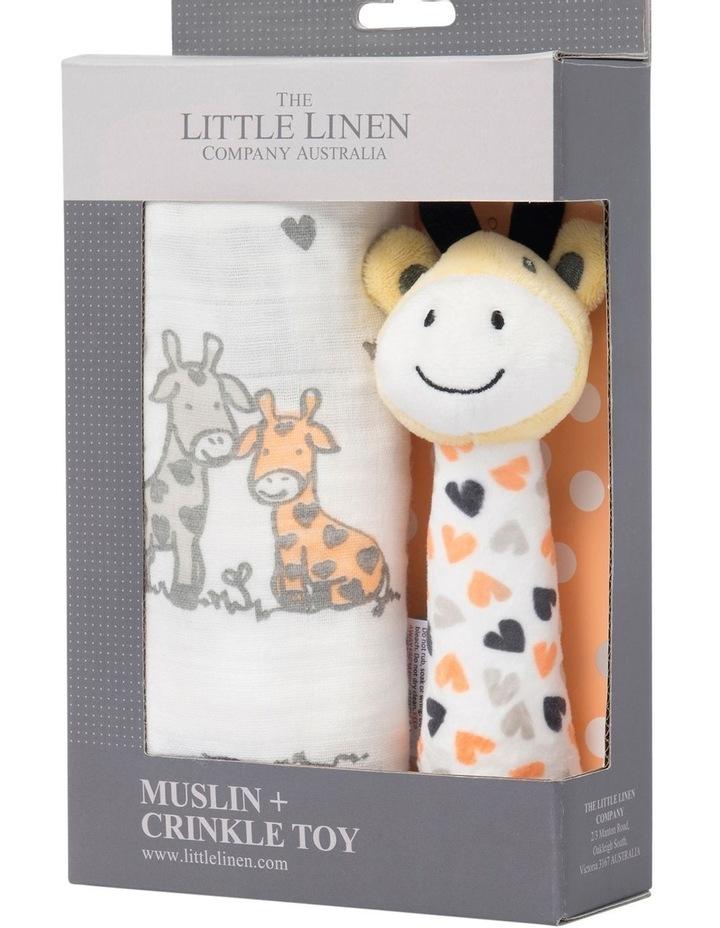 Muslin Wrap & Crinkle Toy - Orange Giraffe image 2