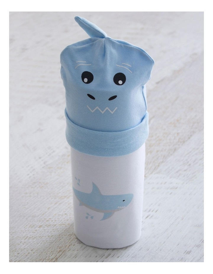 Shark Swaddling Stretchie & Novelty Beanie Set image 2
