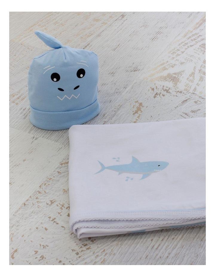 Shark Swaddling Stretchie & Novelty Beanie Set image 3