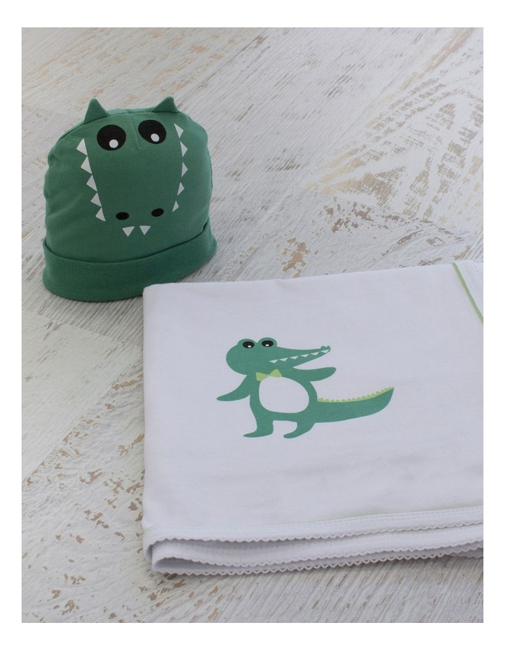 Crocodile Swaddling Stretchie & Novelty Beanie Set image 3