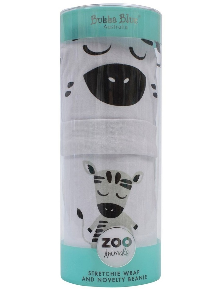 Zebra Swaddling Stretchie & Novelty Beanie Set image 1