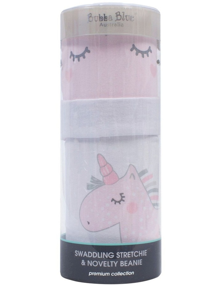 Unicorn Magic Swaddling Stretchie & Beanie Set image 1