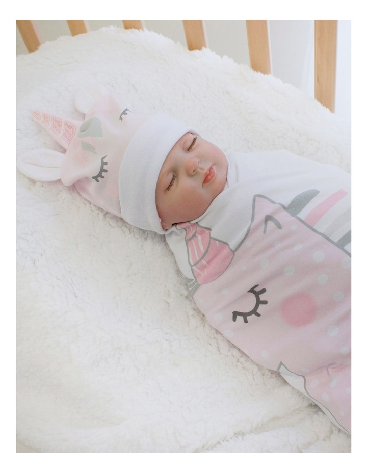 Unicorn Magic Swaddling Stretchie & Beanie Set image 3