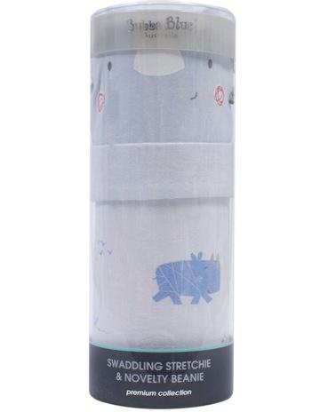 c3d3e198e20 Bubba BlueRhino Run Swaddling Stretchie   Beanie Set. Bubba Blue Rhino Run  Swaddling Stretchie   Beanie Set
