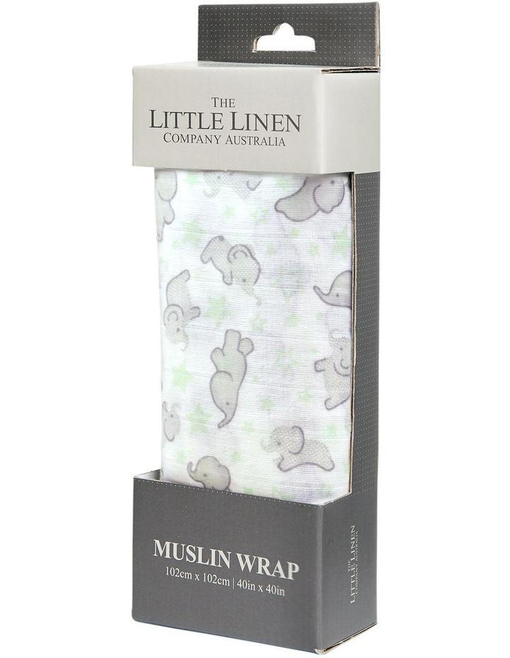 Muslin 1Pk Prints - Mint Elephant image 1