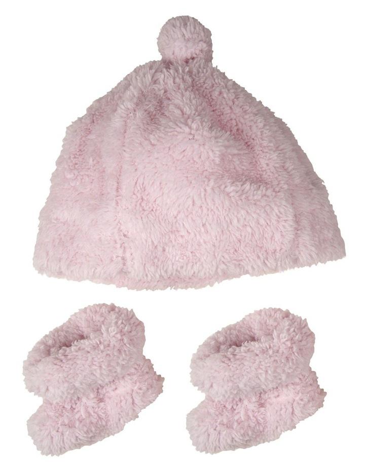 Little Linen Sherpa Beanie   Bootie - Pastel Pink image 1