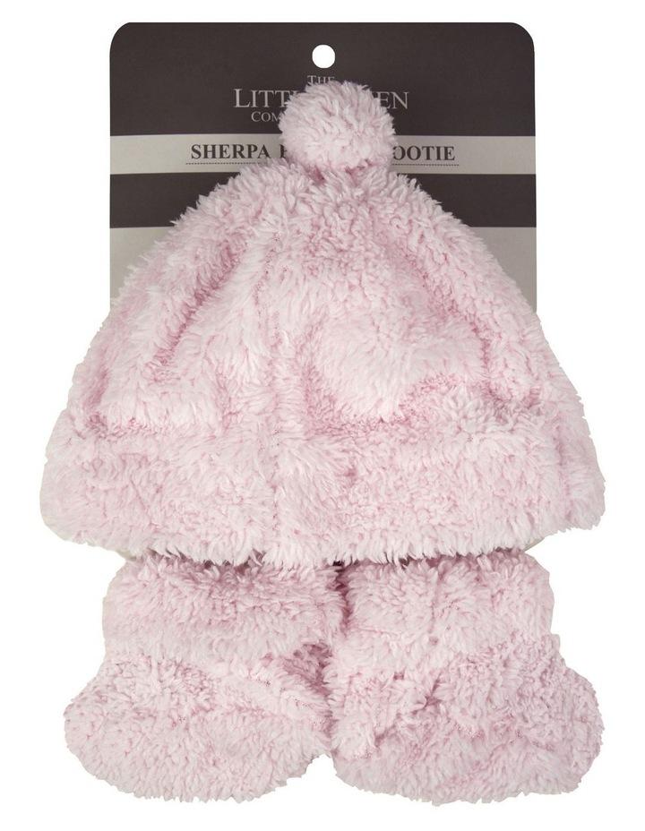Little Linen Sherpa Beanie   Bootie - Pastel Pink image 2