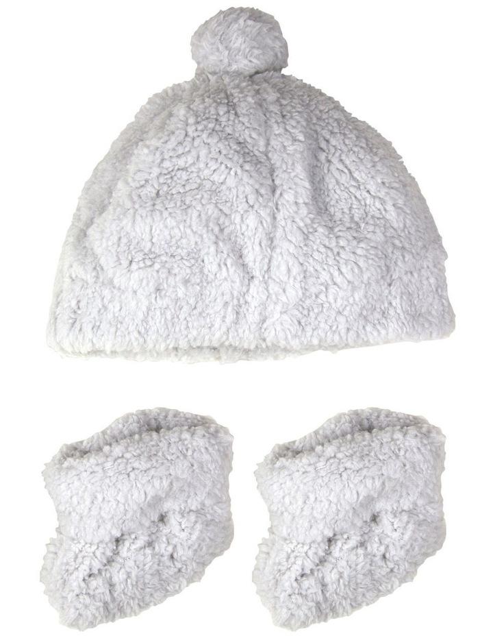 Little Linen Sherpa Beanie   Bootie - Drizzle Grey image 1