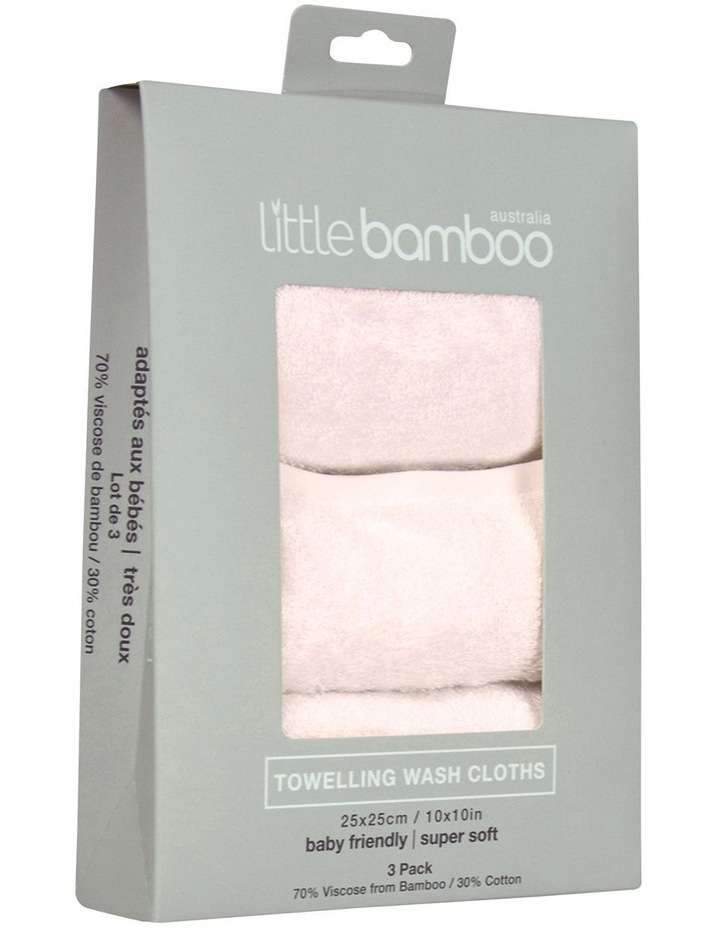 Towelling Washers 3 Pack Dusty Pink image 1