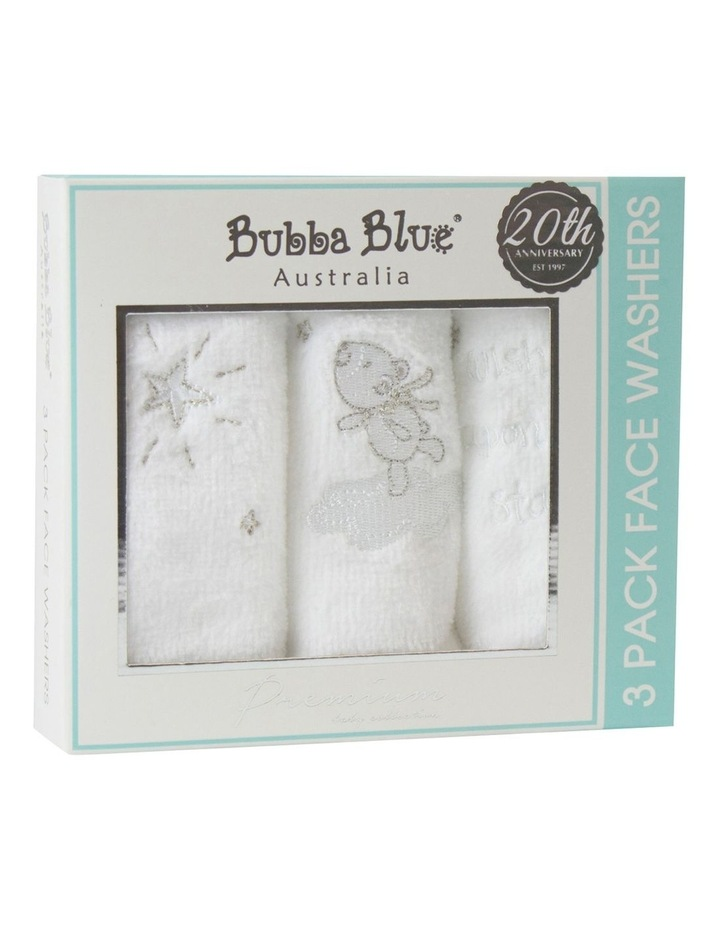 Wish Upon A Star 3 Pack Face Washers in White image 1