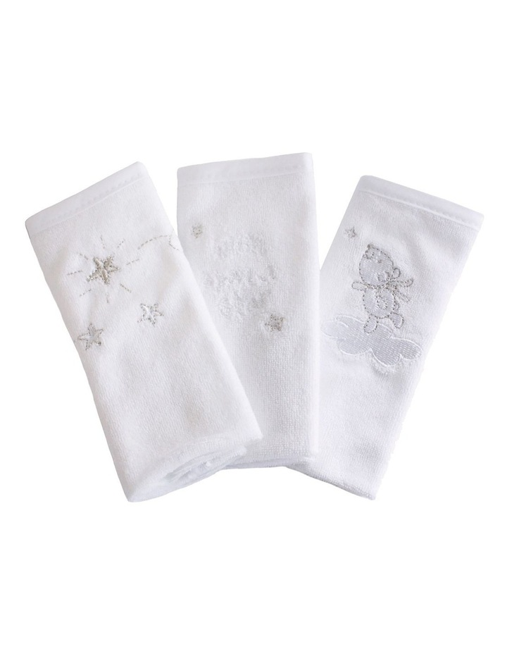 Wish Upon A Star 3 Pack Face Washers in White image 2