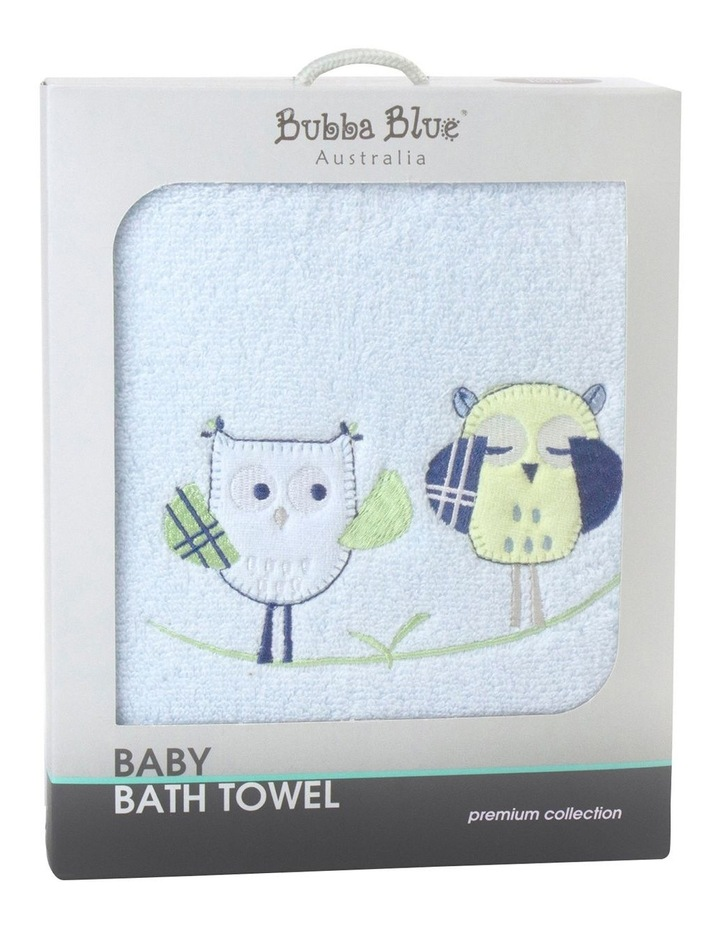 Baby Owl Embroidered Bath Towel in Blue image 1