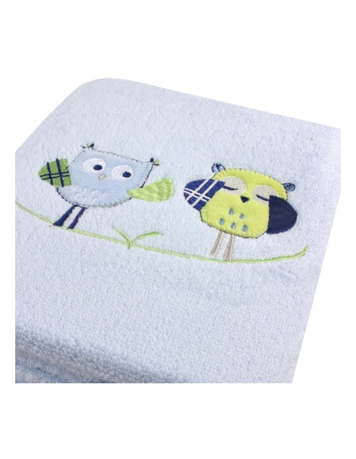 Baby Owl Embroidered Bath Towel in Blue image 2