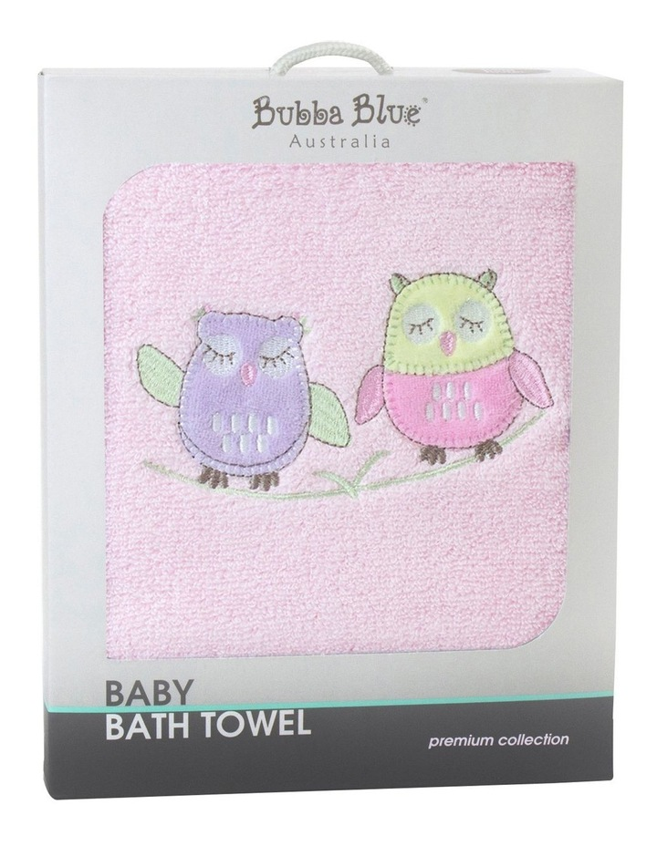 Baby Girl Owl Embroidered Bath Towel Pink image 1