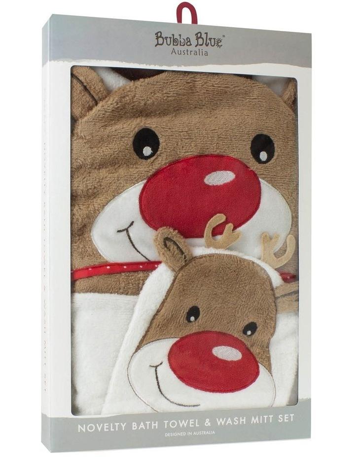 Christmas Reindeer Novelty Bath Towel & Wash Mitt Set image 1