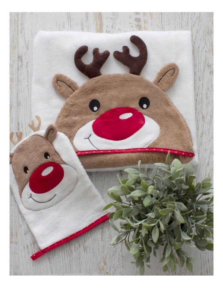 Christmas Reindeer Novelty Bath Towel & Wash Mitt Set image 3