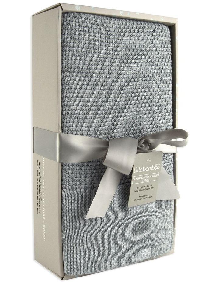Textured Knit Blanket Large - Marl Grey image 2