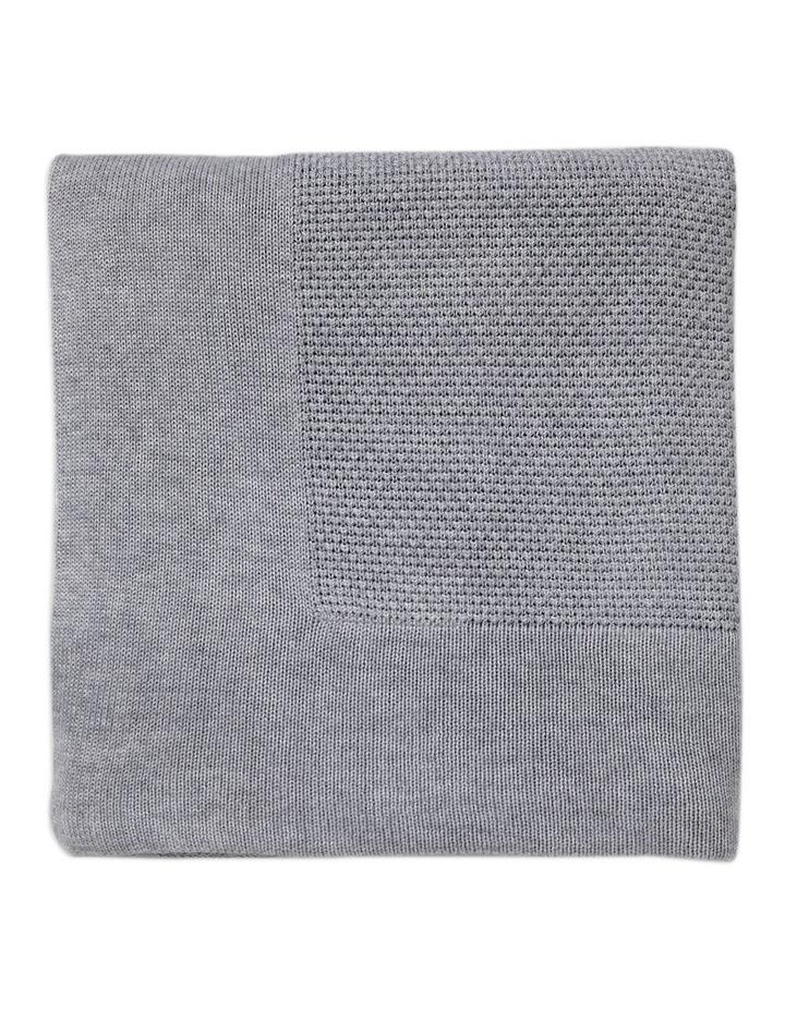 Textured Knit Blanket Large - Marl Grey image 3