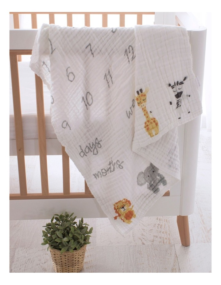 Zoo Animals Milestone Muslin Blanket image 2