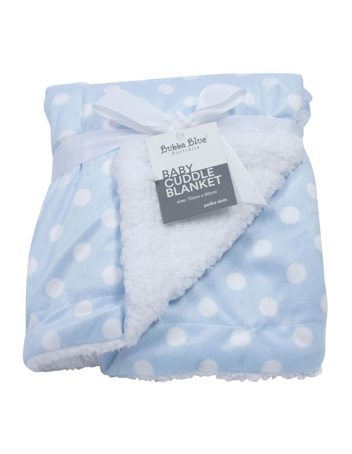 Polka Dots Blue Reversible Cuddle Blanket image 1