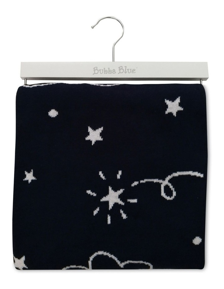 Navy Wish Upon a Star Cotton Knit Blanket image 1