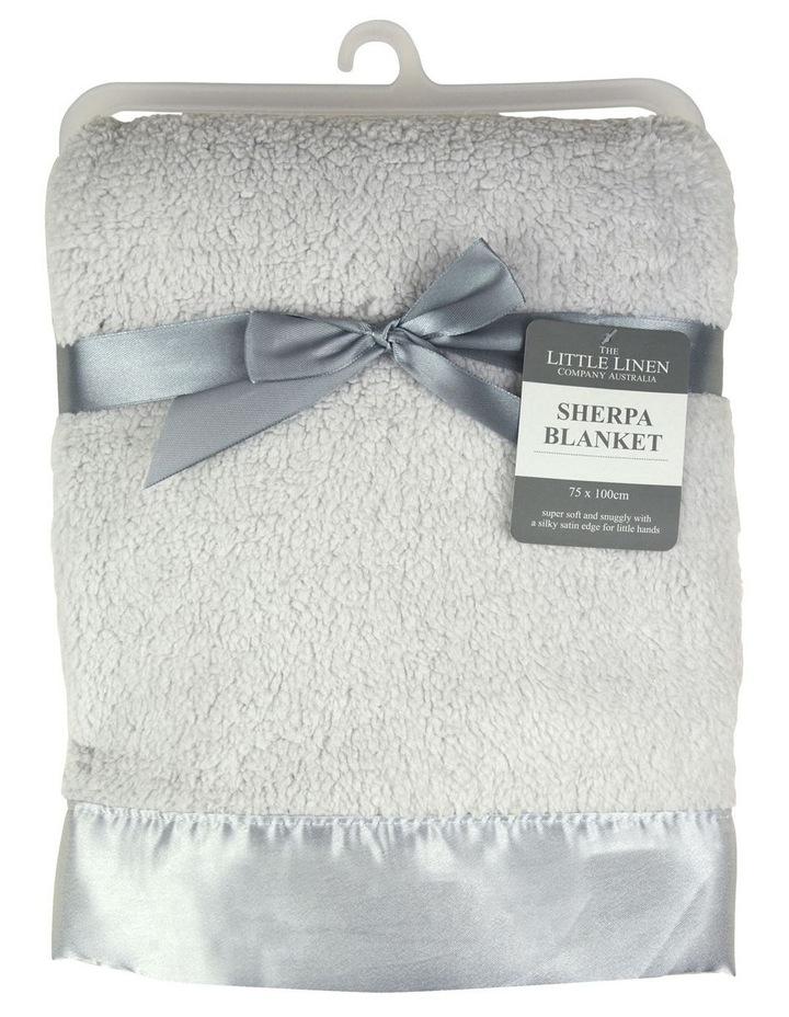 Little Linen Sherpa Stroller Blanket - Drizzle Grey image 1