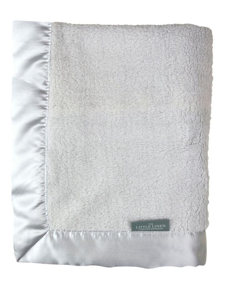 Little Linen Sherpa Stroller Blanket - Drizzle Grey image 2