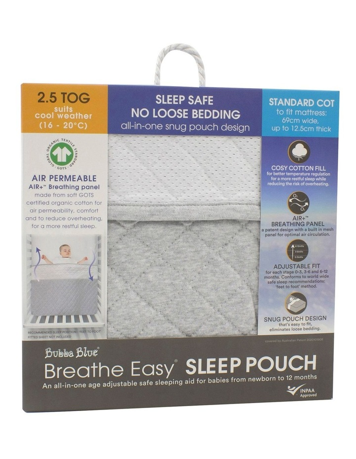 Breathe Easy 2.5 Tog Sleep Pouch - White/Grey Standard Cot image 1