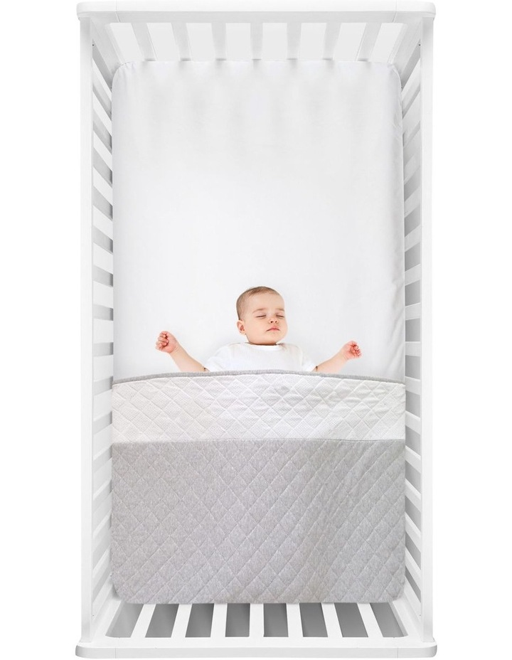 Breathe Easy 2.5 Tog Sleep Pouch - White/Grey Standard Cot image 2