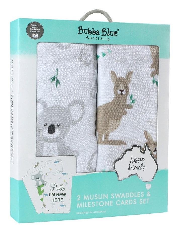 Aussie Animals 2 Muslin Swaddles & Milestone Cards Set image 1