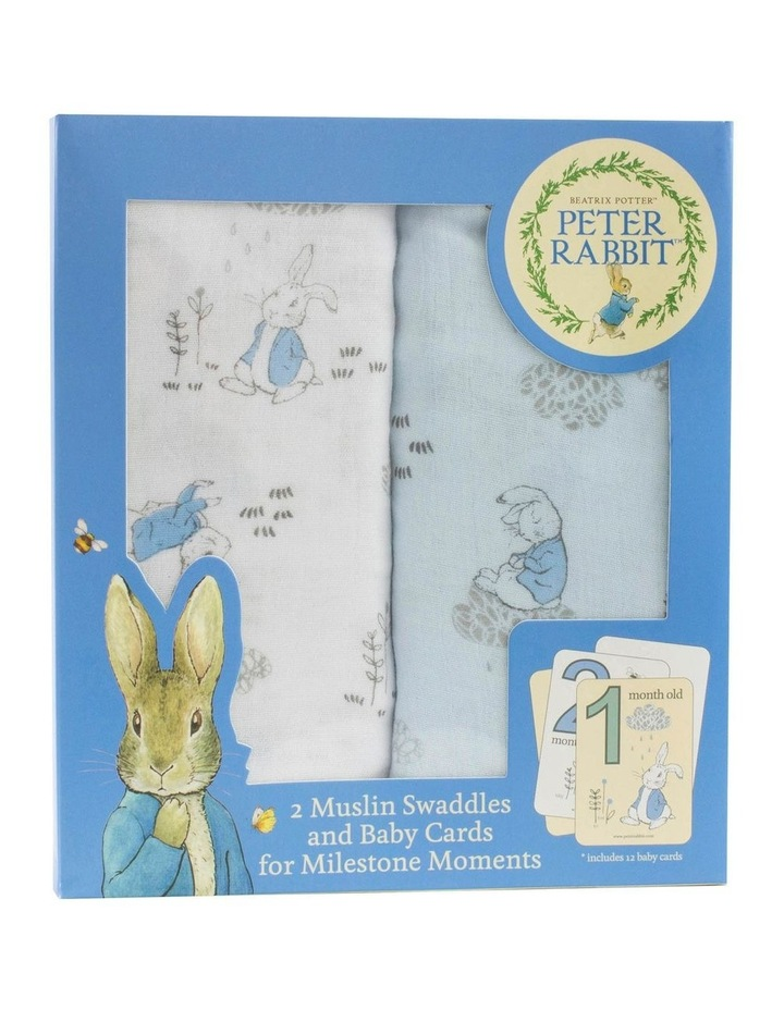 Cloud 2 Muslin Swaddles And Baby Milestone Cards Blue image 1