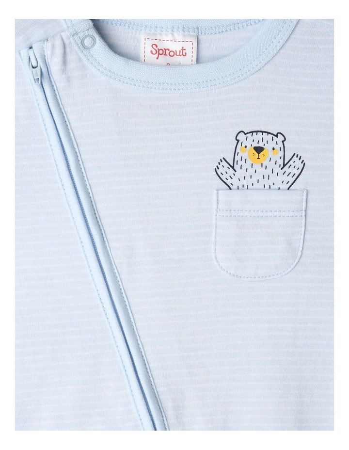 Essential Stripe Bear Pocket Onesie image 2